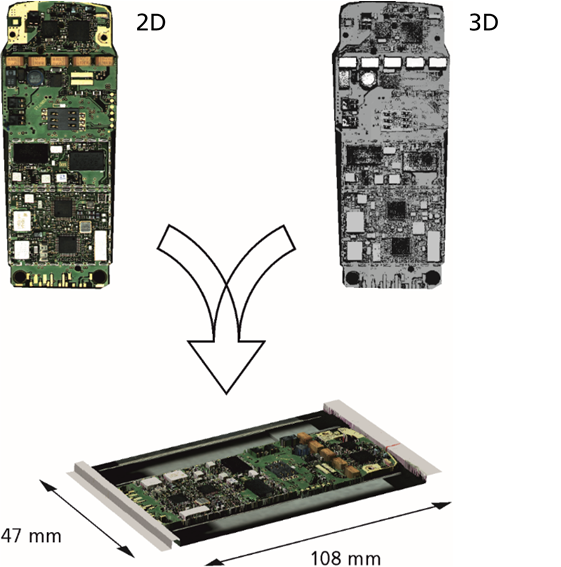 Fusion of 2D and 3D images of a printed circuit board from a mobile phone to set-up a comprehensive geometric data set for PCBs in machine 5.