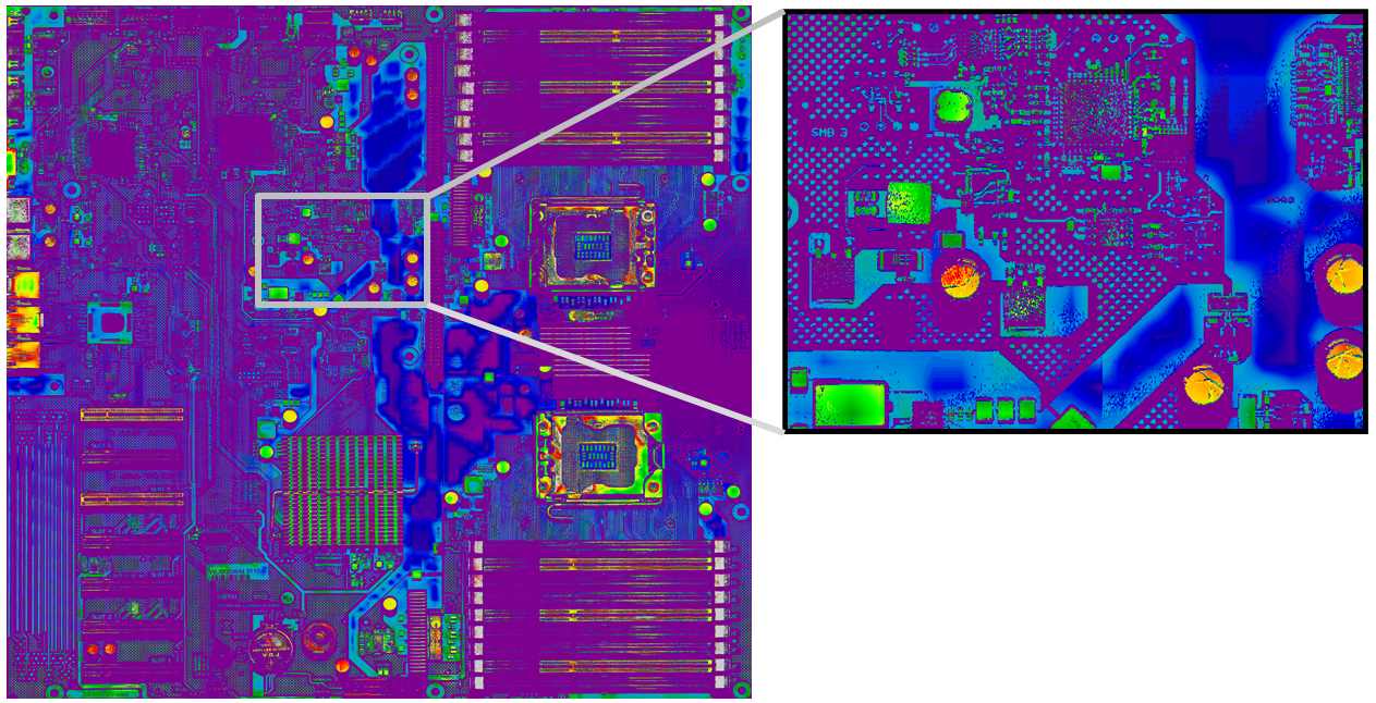 3D high-resolution image gained by laser light section method in machine 5; height at each position of PCB is displayed as false colour. Right: enlarged view of rectangle shown on the left.